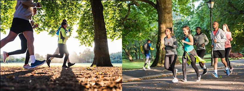Menschen die im Park laufen