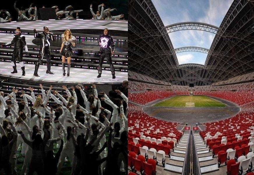 Black Eyed Peas auf der Bühne/ Football Stadium