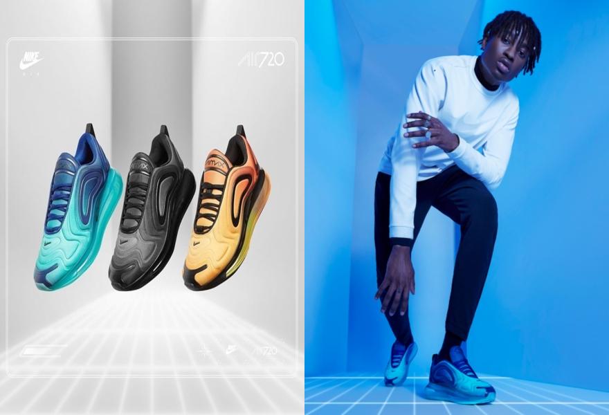 Der Nike Air Max 720 in Blau, Schwarz und Orange