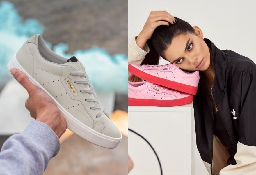 Der Sleek Sneaker von adidas Originals in den Farben Grau und Rosa-Rot. Rechts mit Kendall Jenner