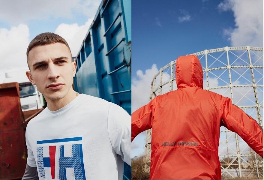 Links: Ein mann trägt ein weißes Helly Hansen T shirt. Rechts: Ein Mann schaut von der Kamera weg in einer orangefarbenen Helly Hansen Jacke.