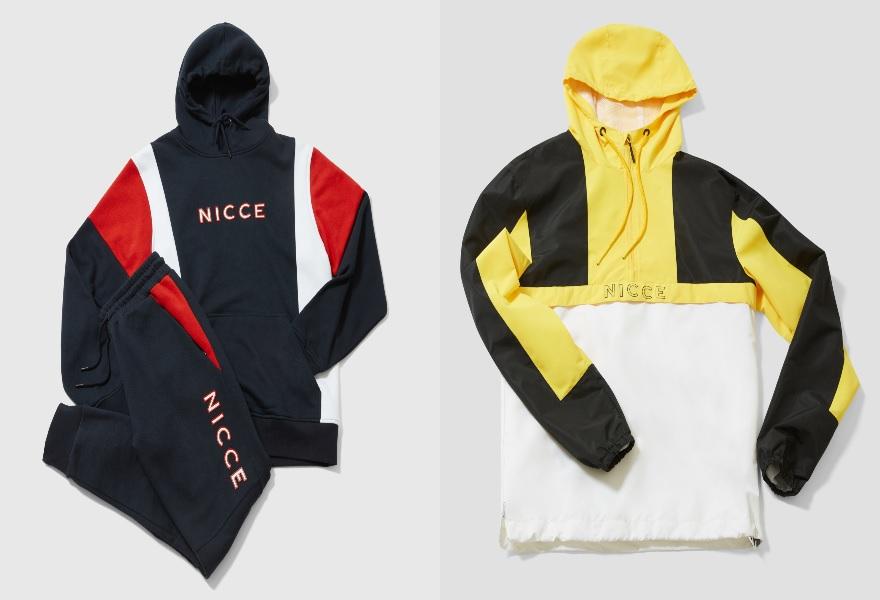 Flatlays mit Trainingshose und Sweatshirt von Nicce; rechts in Blau und Rot, links in Gelb und Blau