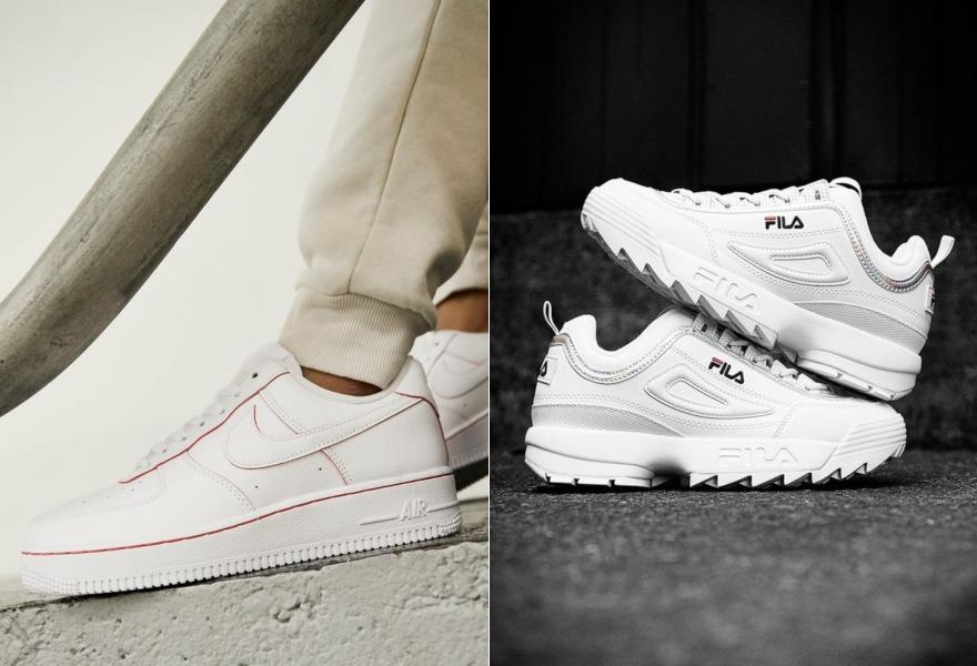 Weiße Nike Air Force 1 mit roten Details und weiße Fila Disruptor