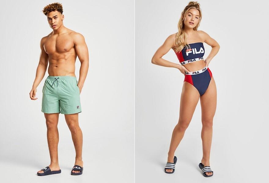 Mann in hellgrüner Fila Badehose und Frau in blauroten Fila Bikini