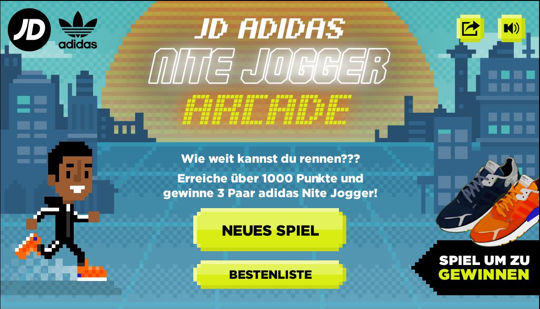 Spielmenü für adidas Originals Nite Jogger Arcade Spiel