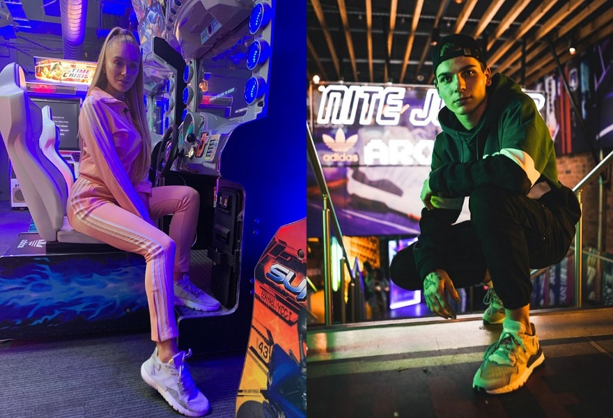 Zwei Influencern beim adidas Originals Nite Jogger Event
