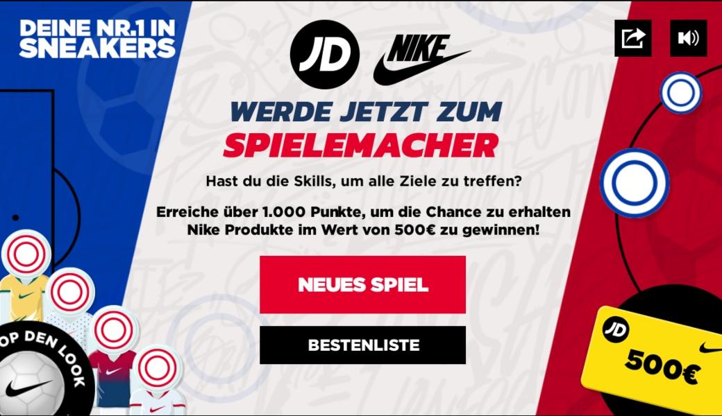Spieloberfläche für JD Sports x Nike Gewinnspiel
