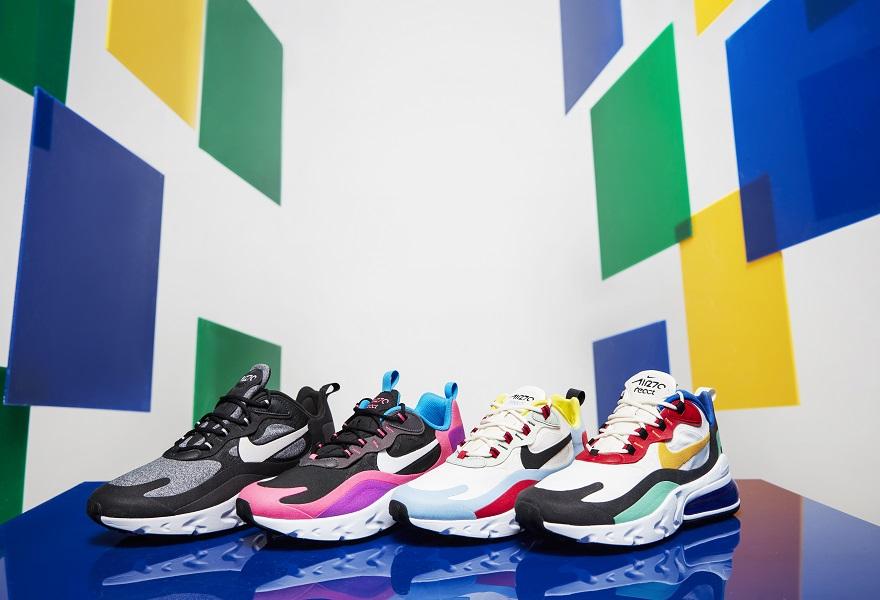 Der Nike Air Max 270 React in Schwarz, Pink, Weiß-Rot, Blau-Rot-Weiß