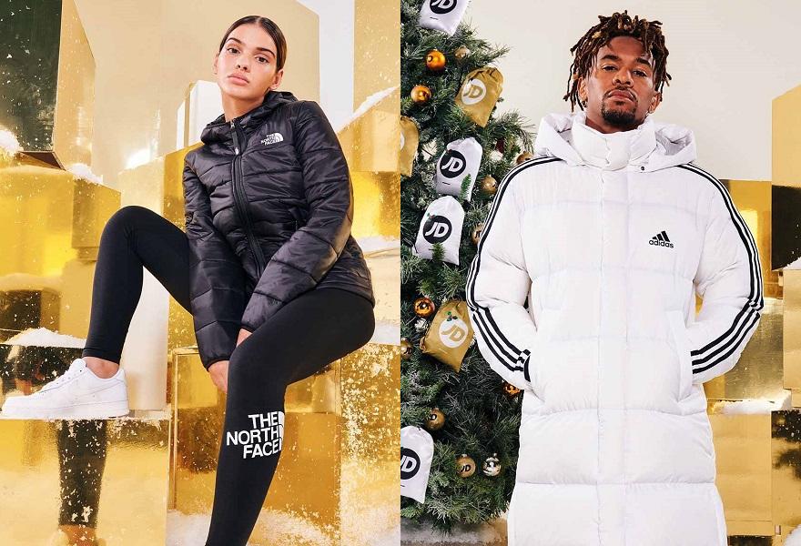 Weibliches Model mit Jacke von The North Face und männliches Model mit Jacke von adidas