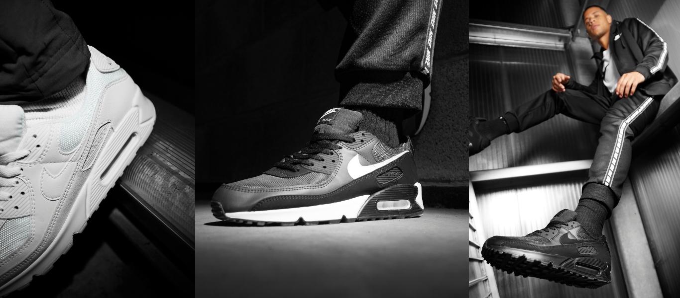 Der Nike Air Max 90 in Weiß, Grau-Schwarz und Schwarz