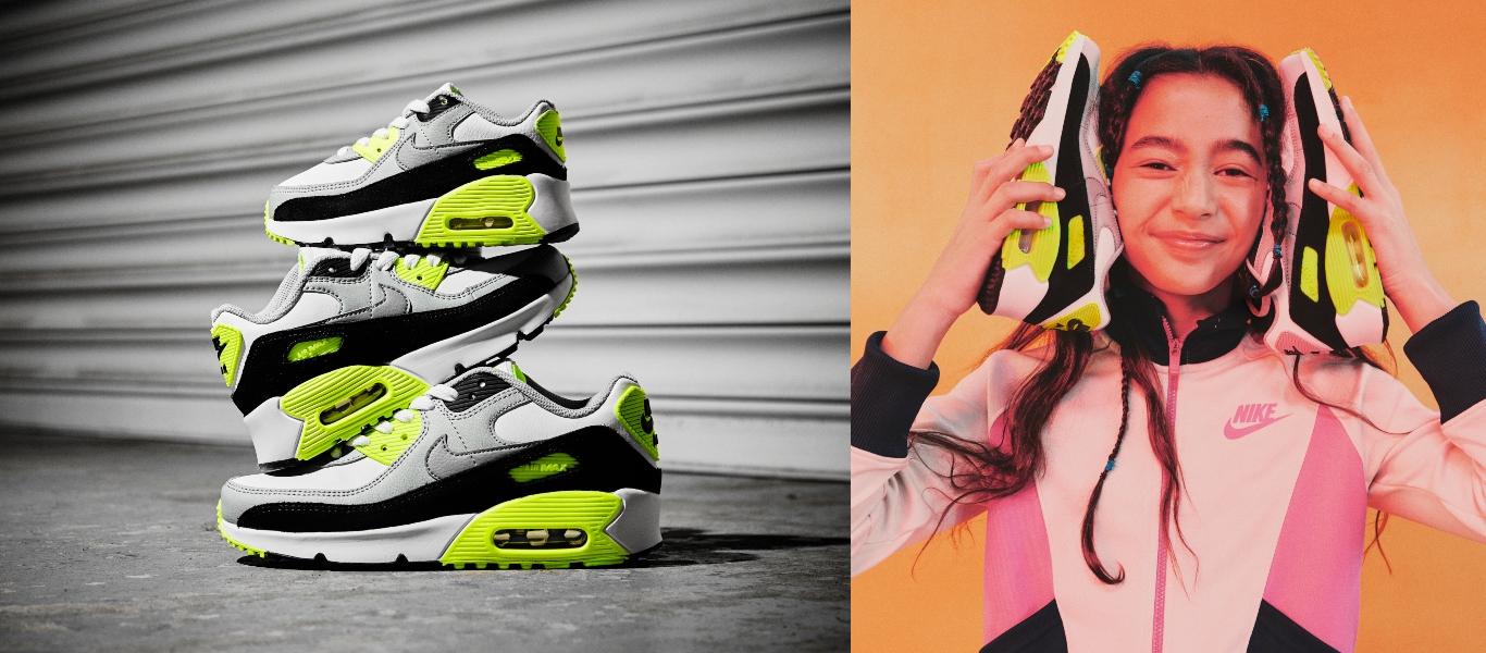 Der Nike Air Max 90 für Herren, Kinder und Kleinkinder. Rechts Mädchen mit Air Max 90