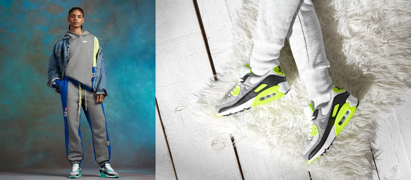 Model im Nike Outfit mit verschiedenen Nike Air Max 90 Modellen
