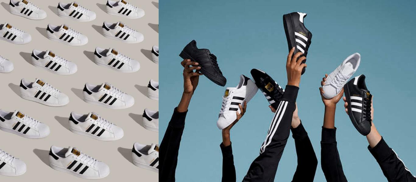 der adidas Originals Superstar in weißen und schwarzen Colourways
