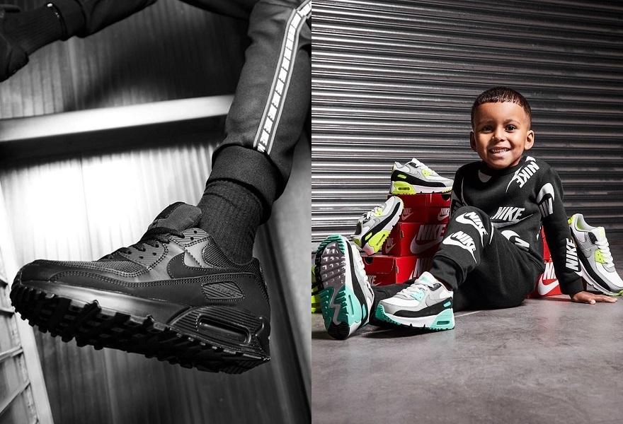 Der Nike Air Max 90 in Schwarz und bunten Colourways für Kinder