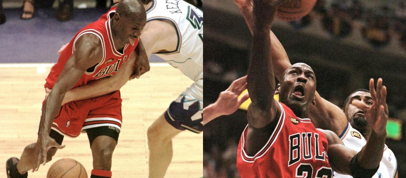 Jordan auf dem Spielfeld mit Nummer 23 bei den Chicago Bulls