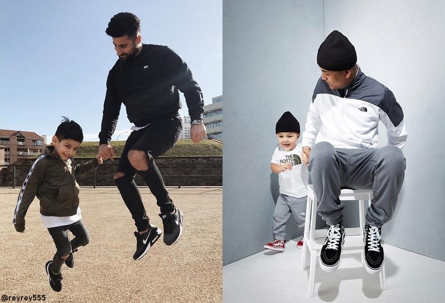 Influencer Bilder mit Vater und Sohn mit Patnerlook. rechts springt, links sitzend