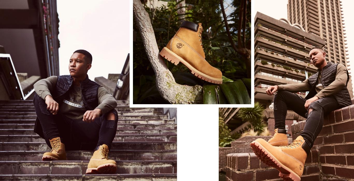 Männliches Model mit 6 Inch Classic Timberland Stiefeln