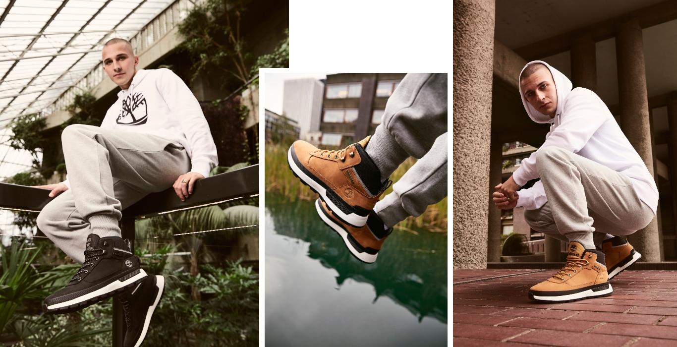 Männliches Model mit Field Trekker Stiefeln von Timberland
