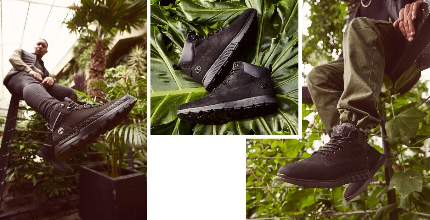 Timberland Killington Stiefel mit Dschungel im Hintergrund